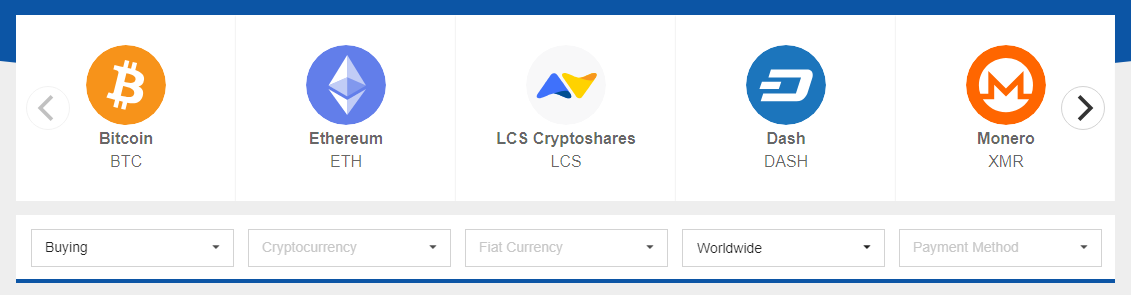 LocalCoinSwap Crypto Filter
