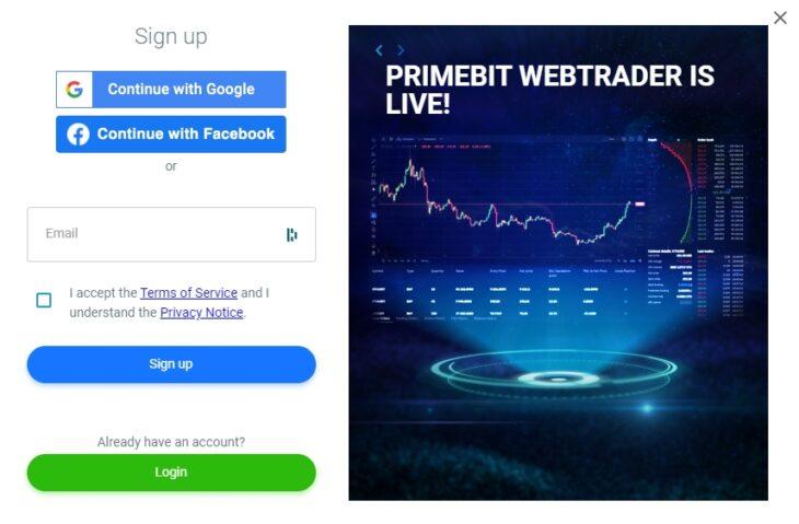 PrimeBit Sign up