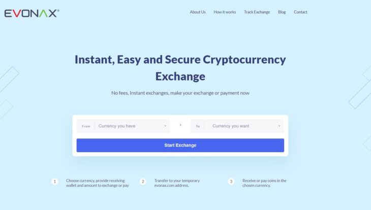 Evonax welcome page